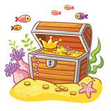 Chest with coins and crown. Chest with coins and crown on sea bottom with fish and seaweeds around Stock Photography