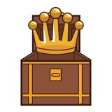 Chest with crown videogame cartoon. Vector illustration graphic design royalty free illustration