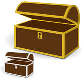 Chest 3d vector, Empty wooden chest with gold and silver metal frames and keyholes Royalty Free Stock Image
