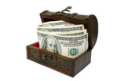 Chest with dollars Stock Photos