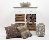 Chest of drawers, cushions and ornaments 4 stock photo