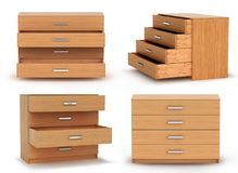 Chest of drawers,. 3d illustration Royalty Free Stock Photo