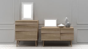 Chest of drawers with frames and vases. 3D illustration Stock Images