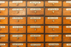 Chest of drawers with herbal medicines. Old chest of drawers with herbal medicines in the pharmacy Royalty Free Stock Photo