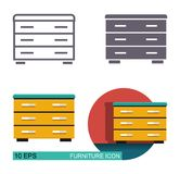 Chest of drawers icons. Different types of styling Royalty Free Stock Photos