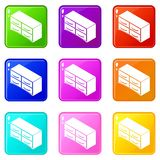 Chest of drawers icons set 9 color collection. Isolated on white for any design royalty free illustration