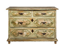 Chest of drawers old original antique European hand  painted  an Royalty Free Stock Images