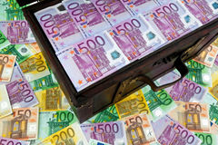 Chest with Euro. A large chest with euro banknotes. Financial crisis, crisis, debt Stock Photos