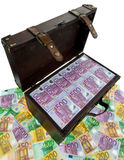 Chest with Euro. A large chest with euro banknotes. Financial crisis, crisis, debt Royalty Free Stock Photo