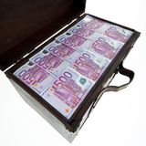 Chest with euro banknotes. financial crisis, Royalty Free Stock Image
