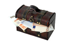 Chest with European currency Stock Photography