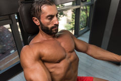 Chest Exercise On Machine In Gym Royalty Free Stock Photos