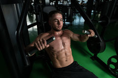 Chest Exercise On Machine In A Gym Stock Photo