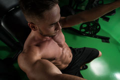 Chest Exercise On Machine In Gym Royalty Free Stock Photo