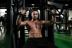 Chest Exercise On Machine In A Gym Stock Images