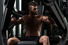 Chest Exercise On Machine Stock Image