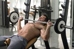 Chest Exercises With Barbell Stock Photography