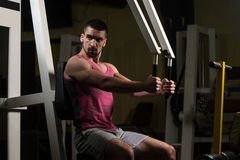 Chest Exercises On A Machine Royalty Free Stock Photo