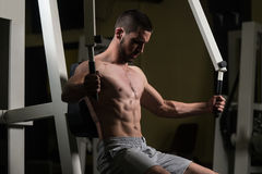 Chest Exercises On A Machine Stock Photo