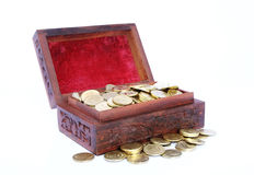 Chest Filled with Gold Coins. Wooden Treasure Chest Filled with Gold Coin stock images