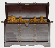 Chest filled with gold coins Royalty Free Stock Photography