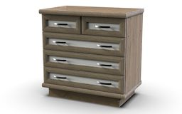 Chest of five drawers with MDF profile. Chest, which has five drawers with MDF overlays on the facades, as well as the perimeter of the lid and the bottom.  The Stock Photo