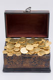 Chest full of chocolate coins Stock Photo
