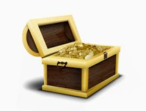 Chest full of gold coins Stock Photography