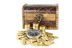 Chest full of gold coins of the old clock Royalty Free Stock Photos