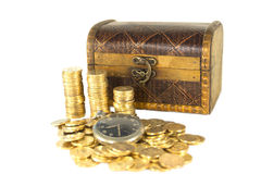 Chest full of gold coins of the old clock Royalty Free Stock Photo