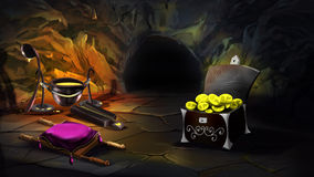 Chest full of gold in a magic cave. Royalty Free Stock Image