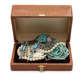 Chest full of jewelry treasures Stock Photos