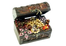 Chest Full Of Jewelry, Isolated On A White Royalty Free Stock Photography