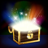 Chest with glowing treasure Royalty Free Stock Photo