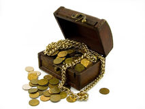 Chest with gold coins. Old chest full of gold coins and gold chain stock images
