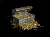 Chest with gold coins Stock Photography