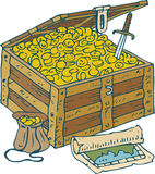 Chest with Gold Coins, Treasure Map and Saber Royalty Free Stock Photography