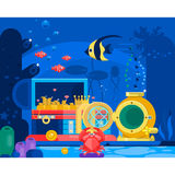 Chest of gold in the sand under water.Marine Life Landscape - the ocean and the underwater world with different. Inhabitants. Flat vector illustration Royalty Free Stock Image