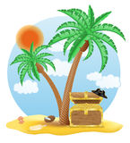 Chest of gold standing under a palm tree vector illustration Stock Images