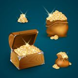 Chest with Golden Coins Vector Illustration royalty free illustration