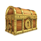 Chest. Golden quality treasure chest on white background Royalty Free Stock Photo