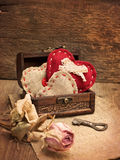 Chest with hearts, key Stock Image