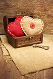 Chest with hearts, key Royalty Free Stock Image