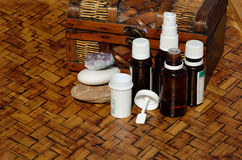 Chest with homeopathic remedies Royalty Free Stock Photo