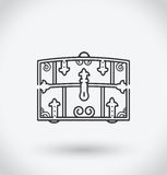 Chest Icon on white background. With shadow Royalty Free Stock Photo