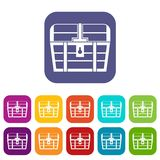 Chest icons set. Vector illustration in flat style in colors red, blue, green, and other stock illustration