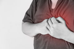 Chest injury in humans .chest pain,joint pains people medical, mono tone highlight at chest.  Stock Image