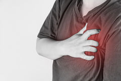 Chest injury in humans .chest pain,joint pains people medical, mono tone highlight at chest.  Stock Photo