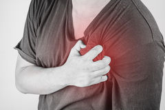 Chest injury in humans .chest pain,joint pains people medical, mono tone highlight at chest.  Royalty Free Stock Images