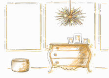 Chest, lamp, ottoman. The furniture in the interior. Chest, ceiling lamp, ottoman Sketch Stock Images